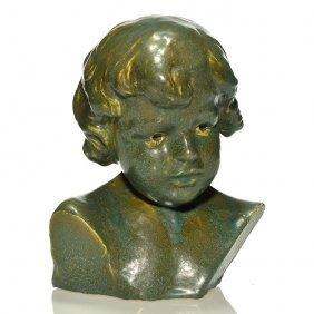 "Clement Barnhorn Bust, Child, Rookwood, 9 1/2"""