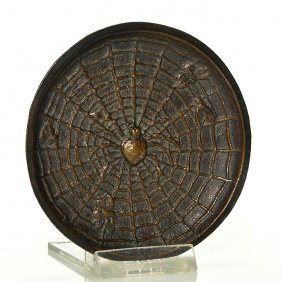 Hurley Bronze Tray, Spider, Moths, 3 5/8""