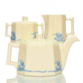 """Rookwood Blue Ship Tea Set,pot,cream,sugar, 4 1/8"""""""