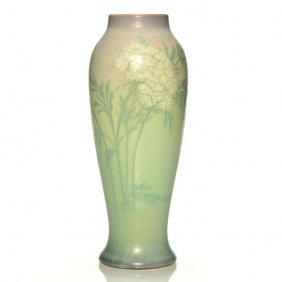 "Rookwood Vellum Vase, Floral, Reed, 1912, 10 7/8"""