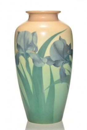 "Rookwood Vellum By Schmidt, Irises, 1924, 10 3/4"""