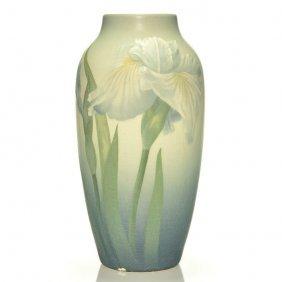 """Rookwood Vellum Vase, Irises, Schmidt, '05, 10 1/4"""""""