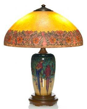 """Original Rookwood Lamp, Handel Fittings, Eth, 9 1/2"""""""