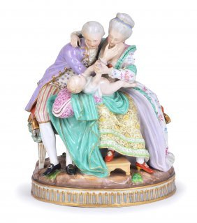 A MEISSEN (OUTSIDE DECORATED) GROUP 'THE HAPPY PAREN