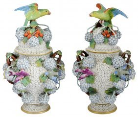 A Pair Of German Porcelain 'schneeballen' Vases And