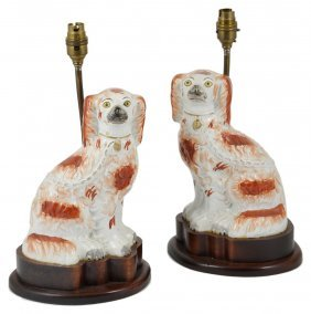 A Pair Of Stafforshire Spaniel Figures, Second Half
