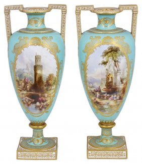 A Pair Of Copeland Porcelain Vases, Mid 19th Century