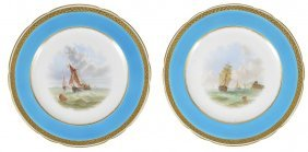 A Pair Of Minton Plates, Circa 1865 One Painted With A