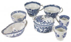 A Group Of Worcester Blue And White Porcelain, Circa