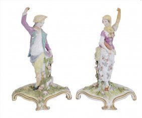 A Pair Of Chelsea Figures Of A Gardener And Companion,