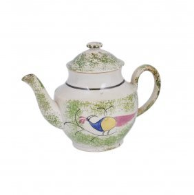 A Pearlware Teapot And Cover, Perhaps Fell Of