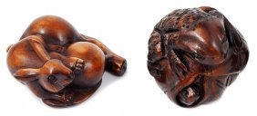 A Japanese Carved Wood Netsuke, Early 20th Century Of