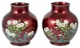 A Pair Of Japanese Cloisonne Vases, Ando Jubei Studio,