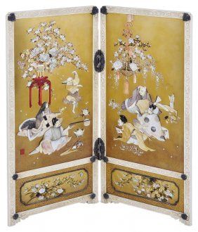˜a Japanese Inlaid Ivory And Lacquer Table Screen,