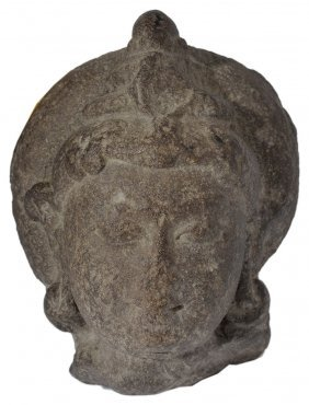 A Buff Sandstone Head Of A Deity, Central India,