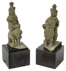 Two Khmer Figures Of Hindu Deities, Cambodia, 12th