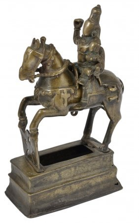 A Brass Figure Of Khandoba And Mhalsa, Western Deccan,