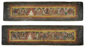 A Pair Of Polychromed Wood Bookcovers, Tibet, Circa