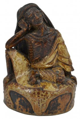 A Polychromed Bamboo Figure Of Milarepa, Tibet,