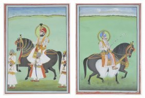 Two Equestrian Portraits, Mewar, Rajasthan, India, Late