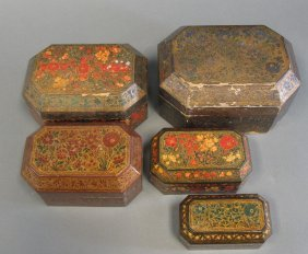 A Nest Of Lacquer Boxes, Kashmir, Northern India, Circa