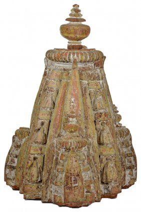 A Polychromed Wood Architectural Finial, Gujarat Or