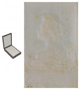 ˜an Art Nouveau Carved Ivory Plaque, French, Early 20th