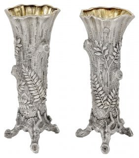 A Pair Of Russian Silver Bud Vases, Khlebnikov, Moscow,