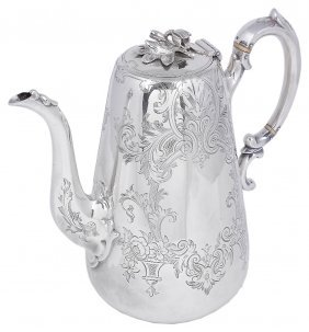 ˜a Victorian Silver Coffee Pot, Maker's Mark Overstruck