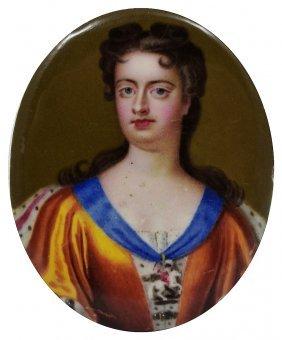 A Portrait Miniature Of Queen Anne, English School,