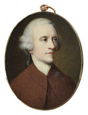 ˜a Portrait Miniature Of A Gentleman, English School,