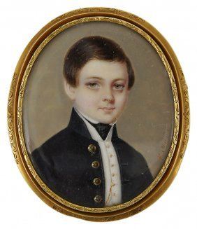 ˜a Portrait Miniature Of A Young Boy, By Nelson Mulnier