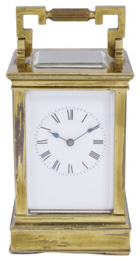A French Gilt-brass Carriage Clock, Late 19th Century
