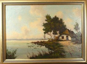 "Leo Mandens ""Hut On A Lake"", Oil On Canvas, Craquel"