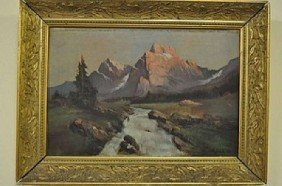 "G�CH, A. ""Mountain Landscape"", Oil On Wood, Signed"