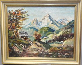 "Hillekum, M., ""homestead In The Mountains"", Oil On Pain"
