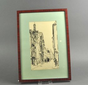 Fine Ink Drawing, View The Asamkirche And Bustle In The