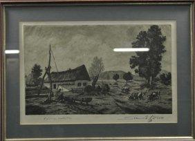 "SZENNIK, Lithography, ""Farm Scene In Hungarian Landscap"