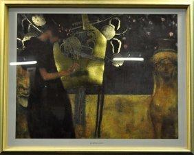 "Prints, ""The Harpist"" After Gustav Klimt Print With Gol"