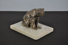 "Naturalistic Metal Sculpture, ""Polar Bear"", Silver Plat"