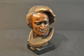 Plaster Bust Of F. Chopin, On Wooden Base, Burnished Pa