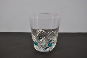 "Glass Beaker, ""Lalique"", Applied Turquoise Glasnuppen,"