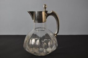 Glass Pitcher With Handle, Art Nouveau, German, Circa 1