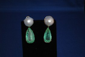 18 K Gold Pearl And Emerald Earrings