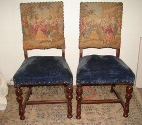2 Blue Velvet & Needlepoint Side Chairs