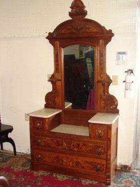 Victorian Drop Center Marble Top Dresser