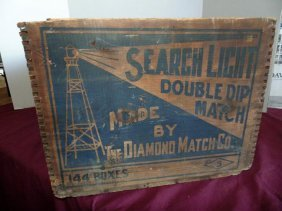 Diamond Match Search Light Wood Crate