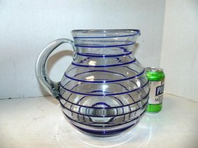 Blown Glass Lemonade Pitcher Cobalt Blue Swirl