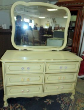 French Provencial Dresser And Mirror