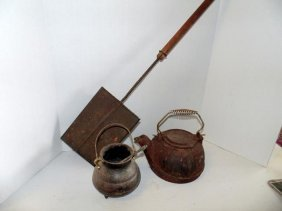 Cast Iron Kettle & Fire Starter Lot